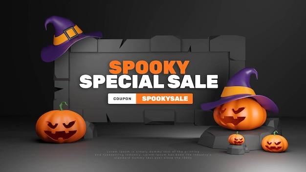 Modello di testo del titolo della promozione di halloween lowpoly