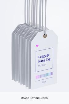 Mockup di etichette per bagagli con stringhe