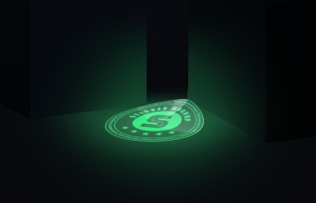Mockup adesivo luminescente