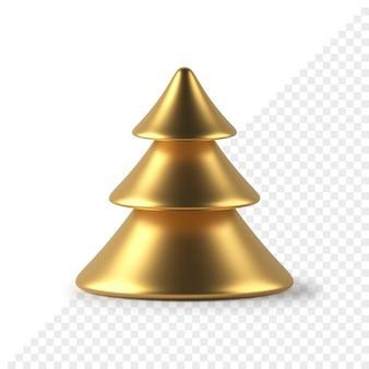 L'albero di abete di natale astratto dorato lussureggiante 3d rende. oggetto decorativo minimalista per la celebrazione delle vacanze invernali. elemento di design a cono geometrico realizzato in metallo prezioso.