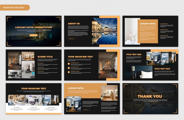 Modello di cursore scuro presentazione hotel lussuoso
