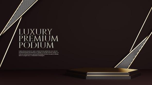 Esposizione del prodotto del podio con ornamento geometrico di lusso in oro