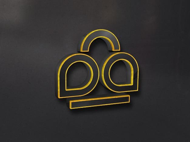 Luxury 3d glass logo mockup sul muro con contorno oro