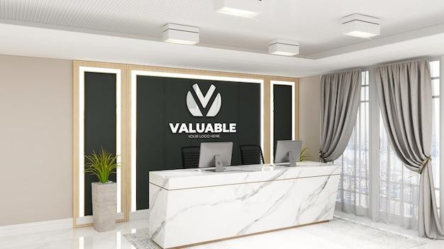 Modello di logo 3d di lusso nella stanza d'albergo dell'ufficio della reception reception