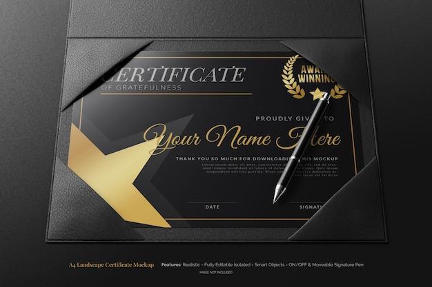 Certificato di diploma orizzontale di lusso a4 con portabifold in pelle modificabile mockup con penna