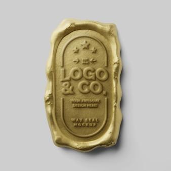 Bollo postale di lusso antico rettangolo arrotondato verticale sigillo di cera d'oro logo mockup