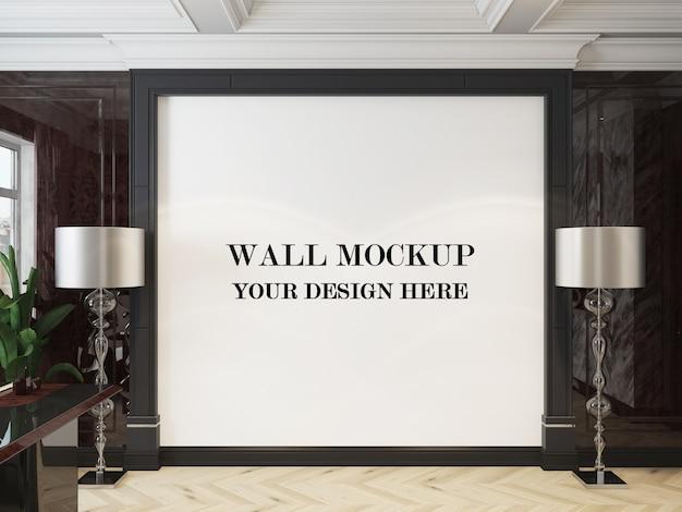 Mockup di parete del soggiorno in stile art déco di lusso in rendering 3d