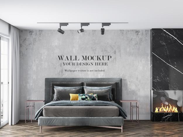 Mockup di parete della camera da letto di lusso accanto al camino