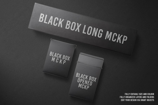 Rendering di progettazione mockup vista dall'alto di lusso scatola nera