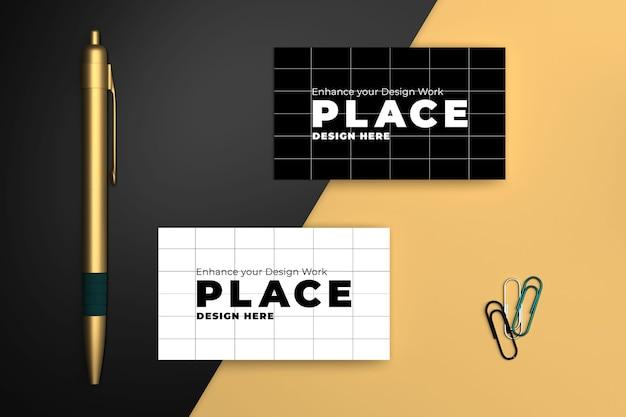 Mockup di design di biglietti da visita in bianco e nero di lusso