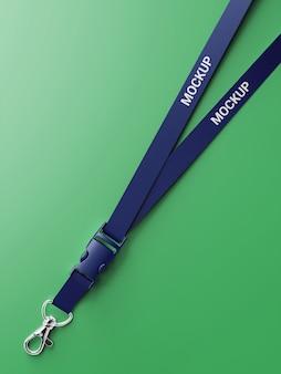 Mockup di cordino blu di lusso su sfondo verde