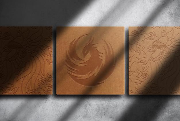 Modello di vista dall'alto della scatola goffrata di carta marrone di lusso