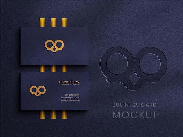 Modello di logo di biglietto da visita di lusso con mockup di logo