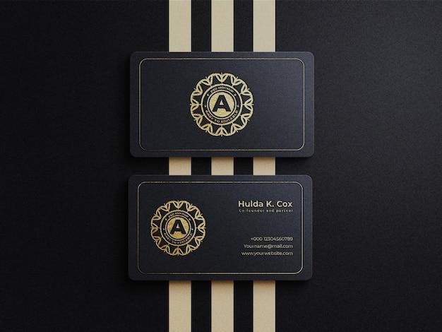 Modello di biglietto da visita di lusso con lamina d'oro