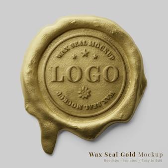 Sigillo di cera gocciolante dorato classico postale di lusso timbro realistico logo identità mockup