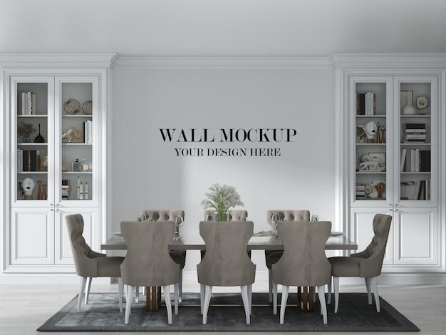 Mockup di parete della sala da pranzo in stile country di lusso