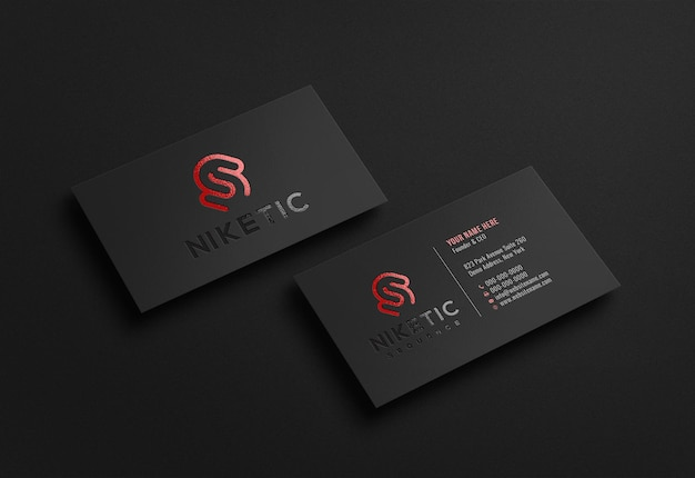 Modello di logo di lusso scuro biglietto da visita con effetto in rilievo