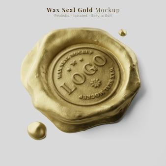 Documento di lusso che sigilla la prospettiva del mockup del sigillo di cera gocciolante dell'oro reale