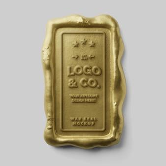 Timbro postale di lusso elegante rettangolo verticale sigillo di cera d'oro reale logo mockup