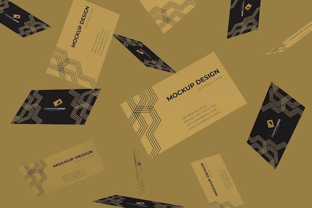 Mockup di design biglietto da visita di lusso che cade