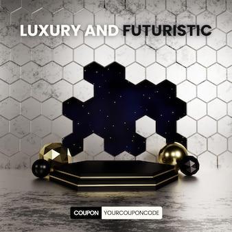 Podio esagonale di lusso e futuristico con cielo notturno
