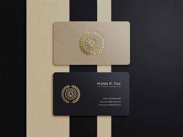 Modello di biglietto da visita di lusso in rilievo oro