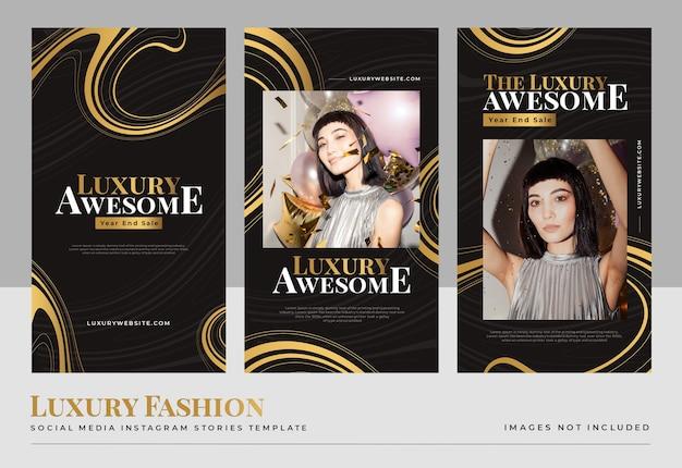 Modello di storie di social media di moda oro di lusso