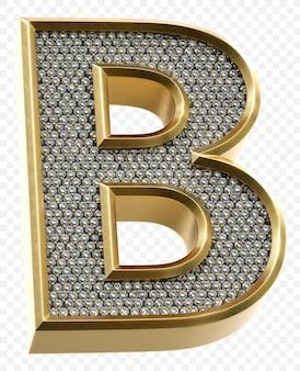 Alfabeto dorato di lusso con diamanti lettera b isolato 3d render image