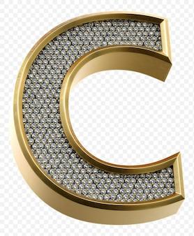 Alfabeto dorato di lusso con diamanti lettera c isolato 3d render image