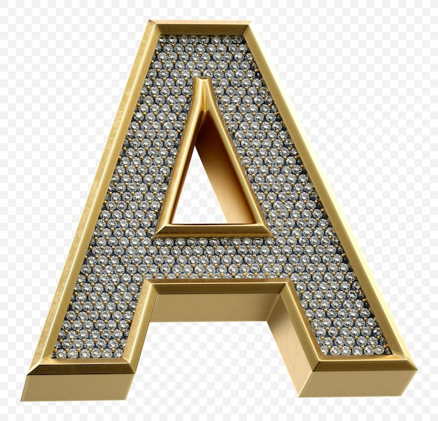 Alfabeto dorato di lusso con diamanti lettera a isolato immagine di rendering 3d