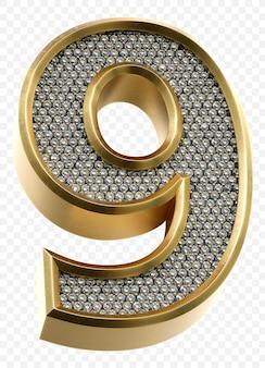 Alfabeto dorato di lusso con diamanti numero 9 isolato 3d render image