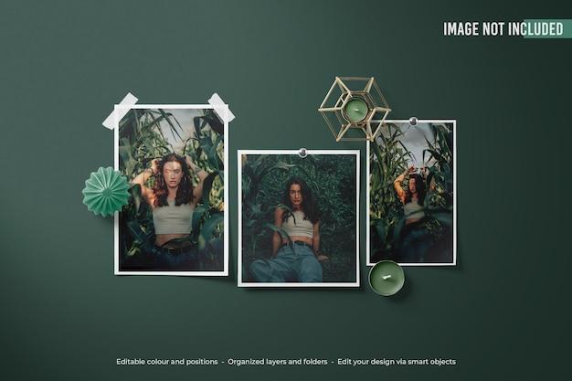 Mockup di foto di moodboard polaroid verde di lusso