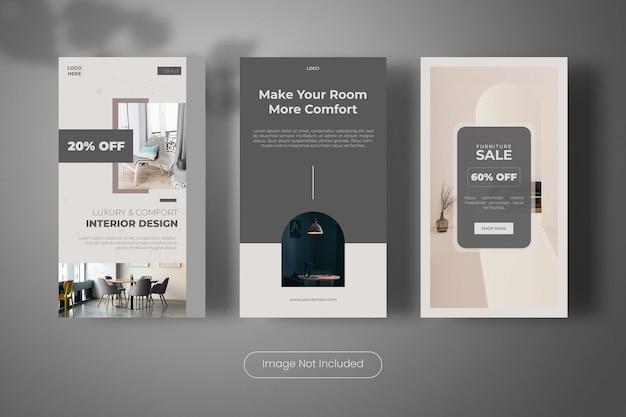 Collezione di banner modello di storie di instagram di interior design di lusso