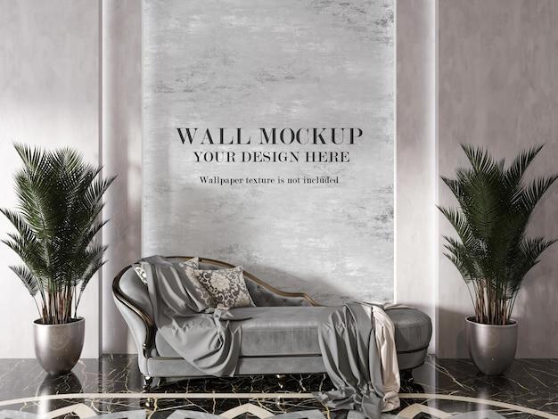 Muro di mockup interni di lusso dietro canape