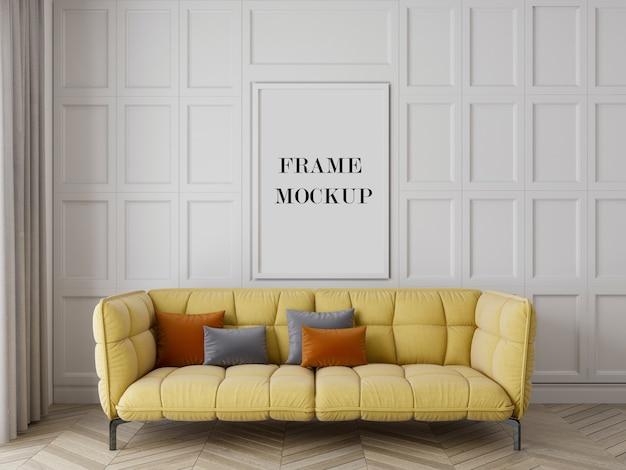 Mockup di cornice per soggiorno di lusso con mobili