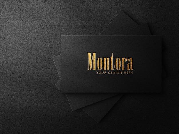 Modello di logo di lusso su biglietto da visita nero e sfondo scuro