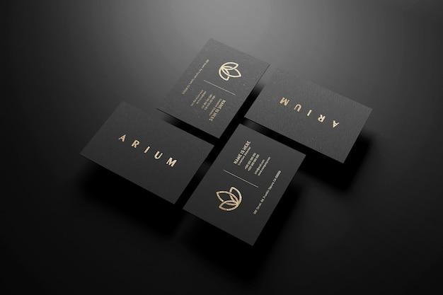 Mockup di logo di lusso sul biglietto da visita nero