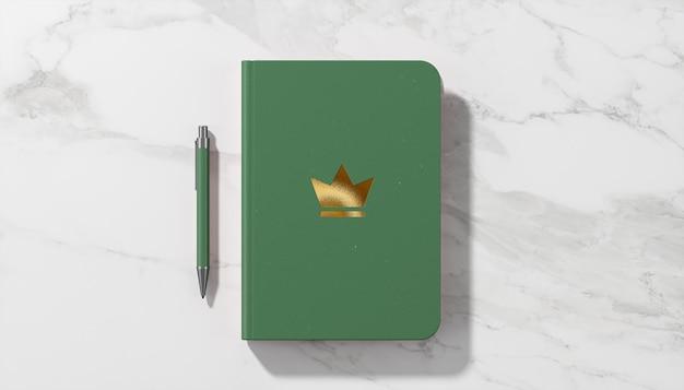 Mockup di logo di lusso sul diario verde
