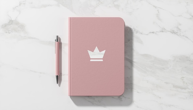 Mockup di logo di lusso su sfondo di marmo bianco diario rosa