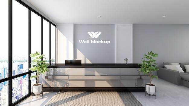 Il mockup del logo di lusso firma nella stanza dell'ufficio della receptionist