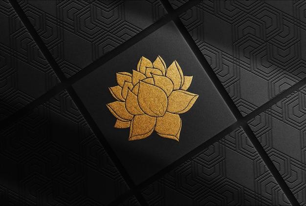 Mockup di scatole di lusso in rilievo d'oro loto