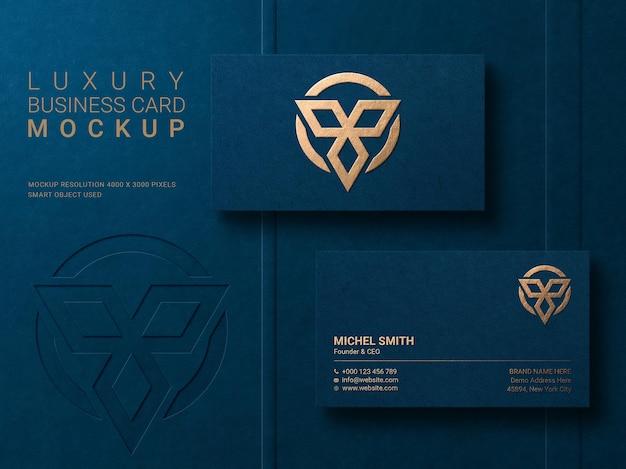 Modello di logo moderno di lusso per biglietti da visita con effetto in rilievo e in rilievo