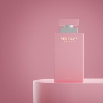 Rendering 3d di presentazione del mockup del logo del profumo di lusso