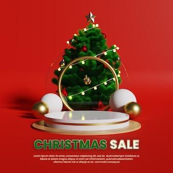 Display di prodotti di lusso sul podio con albero di natale realistico