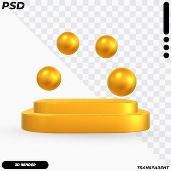 Podio di lusso con palline d'oro