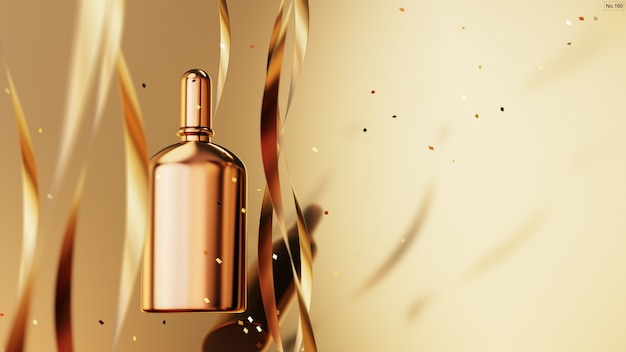 Prodotto di lusso con nastro d'oro su fondo oro.