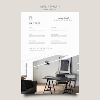 Modello di menu di noleggio di lusso