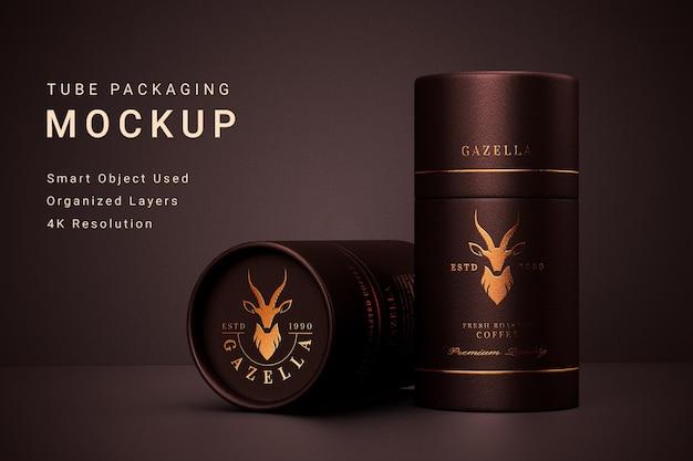 Mockup di packaging per tubi di lusso con design del marchio logo