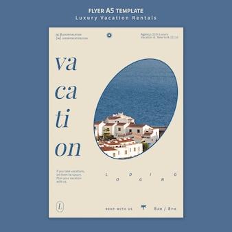 Modello di progettazione del manifesto di affitti per le vacanze di lusso