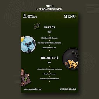 Modello di menu del ristorante di case vacanze di lusso